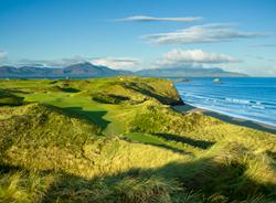 "Tralee Golf Club West Barrow, Ardfert, Tralee, Co.Kerry. Ireland 17th hole / Par-4 / 362 Yards ""Ryan's Daughter"" Architect: Arnold Palmer (1984)  by M. James Ward"